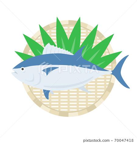 金槍魚在漏勺上的插圖 70047418