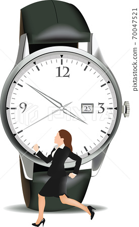 Distinguished woman runs in front of wristwatch 70047521