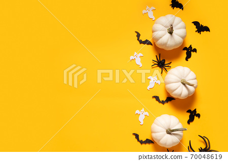 Halloween scene on orange background 70048619