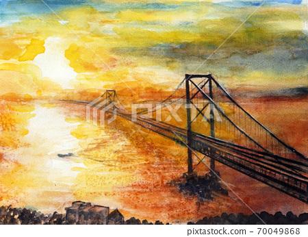Naruto Kancho,本州連接橋的夕陽,Naruto海峽的夕陽 70049868