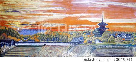 호 키지 나라 관광 삼중 탑 석양 세계 유산 이카루가 70049944