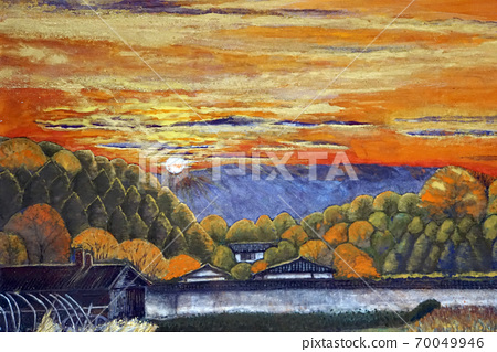 Autumn sunset over the Ikoma mountain range Nara sightseeing three-storied pagoda sunset Ikaruga 70049946