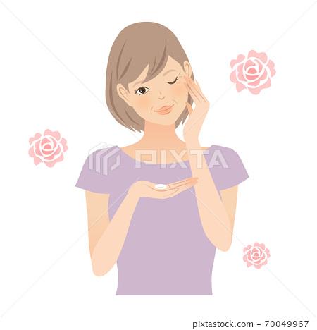 눈가 케어를하는 여성 (수석 장미) 70049967