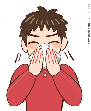 Illustration of a boy who blows his nose 70050534