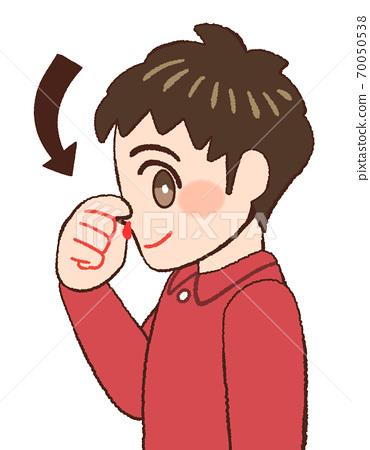 當他有鼻子時顯示正確反應的男孩的插圖 70050538