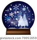 雪穹頂_聖誕樹和雪舞_藍色 70051659