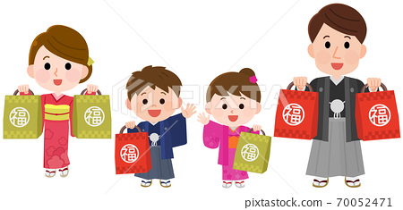 Illustration of a family buying a lucky bag at the first sale 70052471