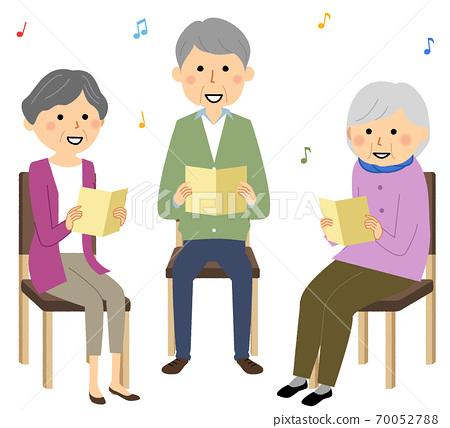 Elderly singing in a recreation 70052788