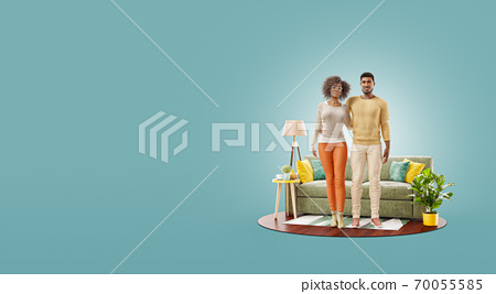 Unusual 3d illustration of a Happy african american family enjoying a new home. 70055585