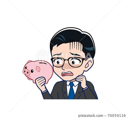 一個帶豬存錢罐的工資工 70059116