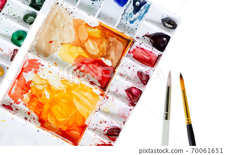 Watercolor Tray and Paintbrush on white background 70061651