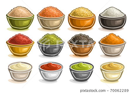 Vector Set of different Bowls 70062289