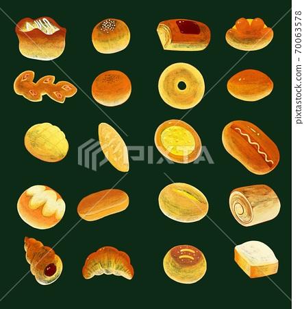 칠판 초크 아트 일러스트 여러가지 빵의 종류 jpeg 70063578
