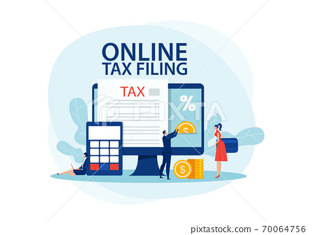 filing tax concept.man put coin for pay tax on laptop computer. Flat illustrator vector 70064756