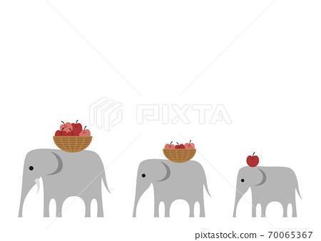함께 걷는 코끼리의 부모와 자식의 일러스트 70065367