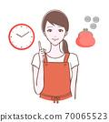 一個女人在一個指向的姿勢,手錶和金錢的插圖 70065523