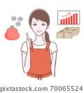 一個女人在指向姿勢和資產的插圖 70065524