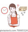擔心的女人,手錶和金錢的插圖 70065526