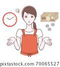 一個困惑的女人,手錶和金錢的插圖 70065527