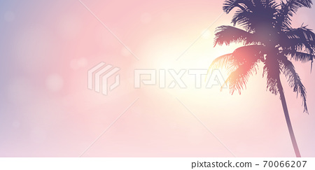 palm trees silhouette on a sunny day summer holiday design 70066207