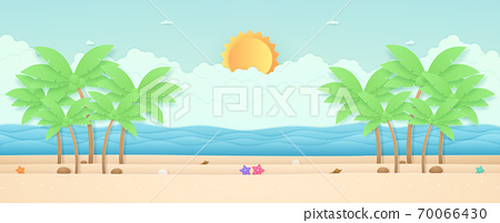 Summer Time, seascape, landscape, starfish and coconut trees on the beach with sea, bright sun in the sky, paper art style 70066430