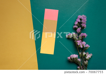 dry purple flower on yellow green paper vintage nature background 70067755