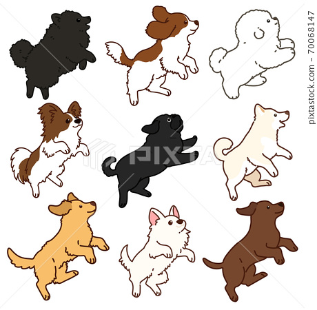 各種跳躍狗的簡單可愛插圖,設置C與主線 70068147