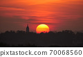 Sunrise Timelapse with Church Silhouette in Belgrade, Serbia with Red Sky 70068560