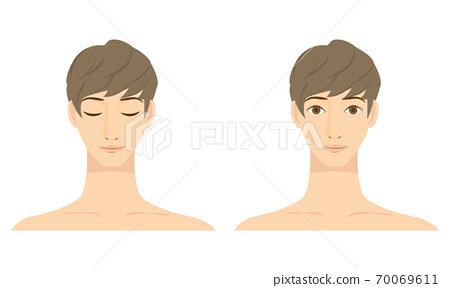 一個年輕人的臉的插圖 70069611