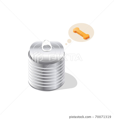 Vector illustration of canned meat ,Pet food.  Tin can of meat bone,Dog food 70071319
