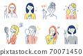 美容套的妇女在各种姿势 70071450