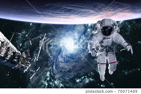 Astronaut, planet, space station on blue galaxy background. 3D Render 70071489