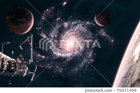 Beautiful Cosmic Landscape Planets Space Stock Illustration 70071499 Pixta