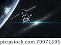 Space station in orbit of the planet. Galaxy disc somewhere in deep space 70071505