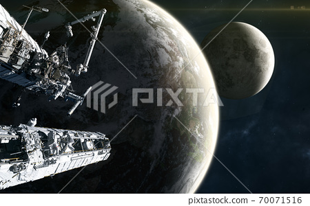 Space station on background of the Earth and the Moon in yellow light of Sun. Solar system. 3D Render 70071516
