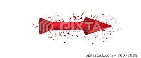 抽象的紅色箭頭爆炸 70077988