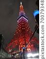 十月在東京鐵塔特別點亮的茜茜色日落橙色 70079348