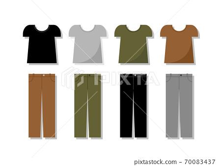 반팔 T 셔츠와 바지 세트 일러스트 70083437