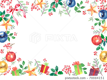 Christmas frame drawn in watercolor 70084151