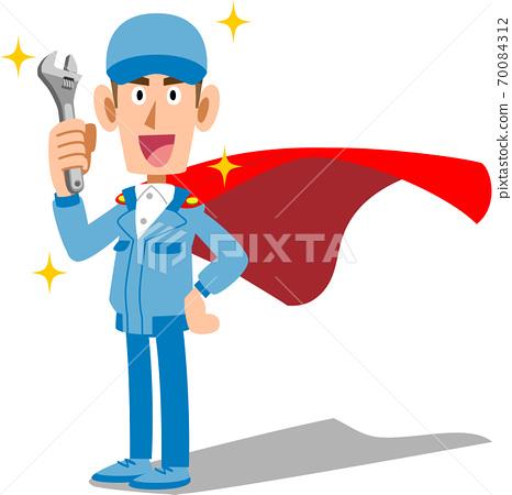 男职工手持工具,穿着工作服,戴着英雄式的斗篷 70084312