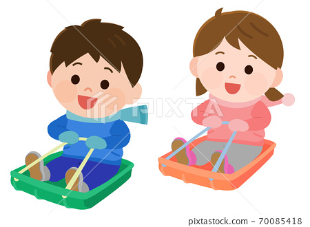 썰매 놀이하는 아이들 일러스트 70085418