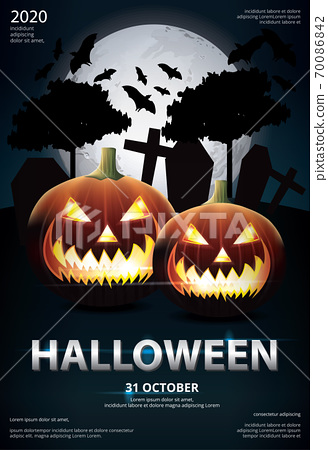 Halloween Poster Template Design Vector Illustration 70086842