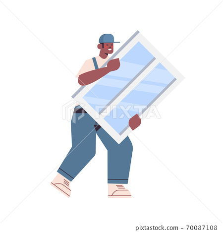 professional worker handyman in uniform installing new window home maintenance service repair concept 70087108