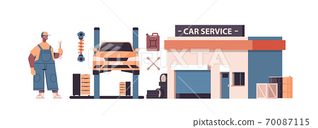 mechanic working and fixing vehicle car service automobile repair and check up maintenance station concept 70087115