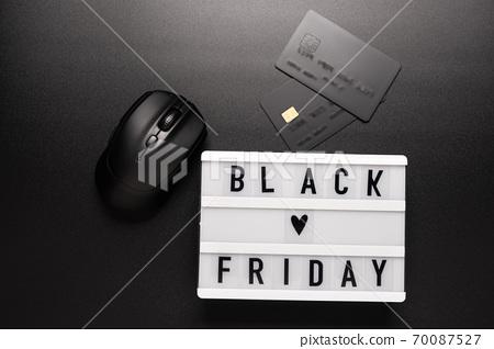 Black friday sale word on lightbox on black background 70087527