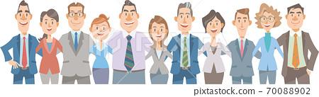 一隊商人帶著微笑交叉肩膀。團隊合作,成功,多樣性,無性別,平等的形象。 70088902