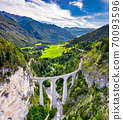 Aerial view of Landwasser Viaduct in Switzerland 70093596
