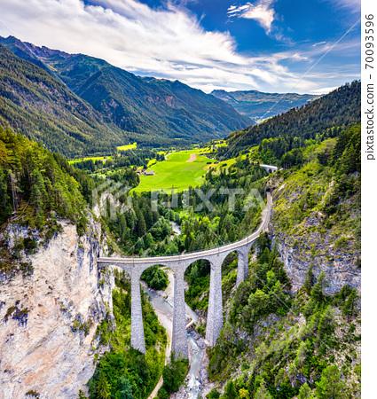Aerial view of Landwasser Viaduct in Switzerland 70093596