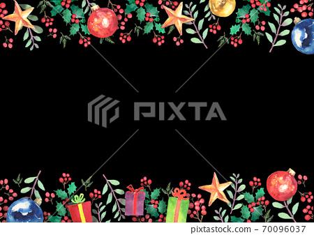 수채화로 그린 크리스마스 프레임 70096037