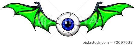 Vector illustration of Tattoo Flying Eyeball design 70097635